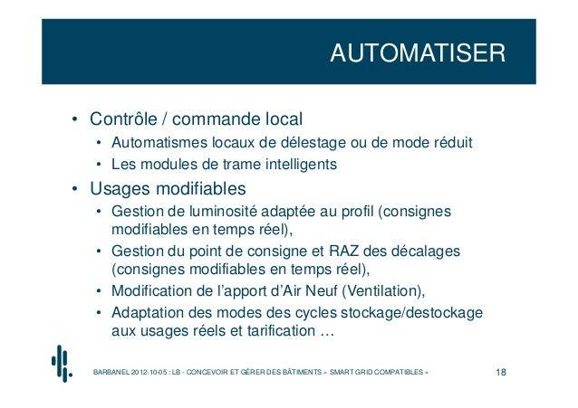 AUTOMATISER• Contrôle / commande local  • Automatismes locaux de délestage ou de mode réduit  • Les modules de trame intel...