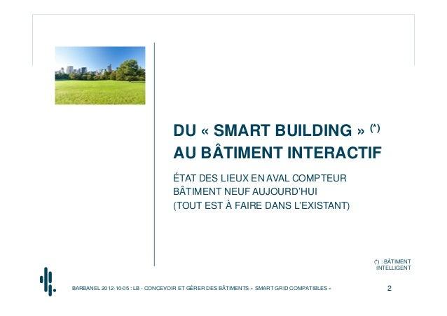 DU « SMART BUILDING » (*)                                 AU BÂTIMENT INTERACTIF                                 ÉTAT DES ...