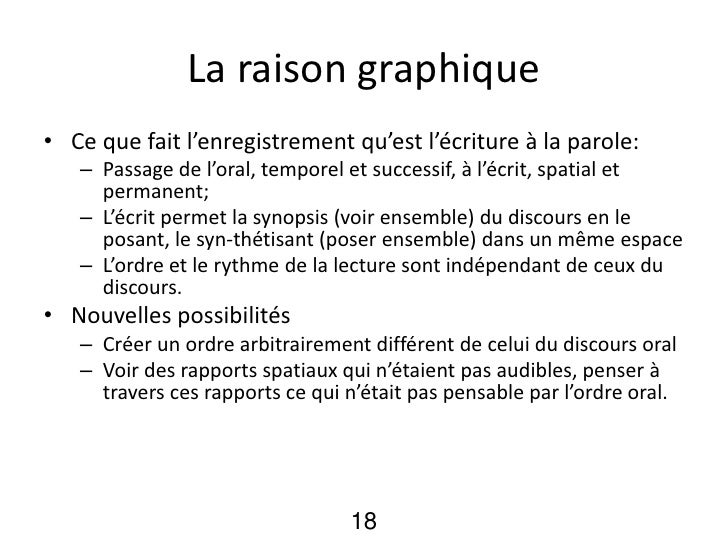 La raison graphique• Ce que fait l'enregistrement qu'est l'écriture à la parole:   – Passage de l'oral, temporel et succes...