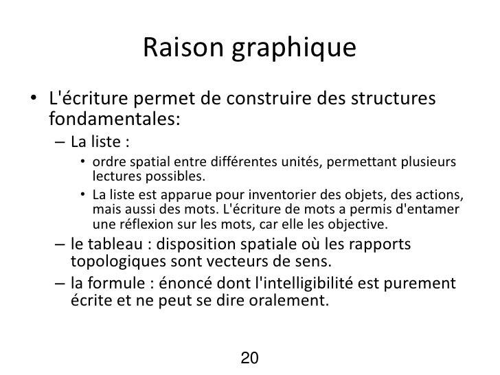 Raison graphique• Lécriture permet de construire des structures  fondamentales:  – La liste :      • ordre spatial entre d...