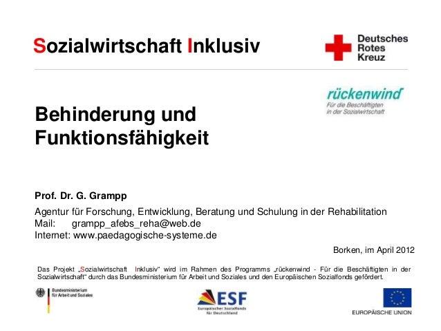 Sozialwirtschaft Inklusiv  Behinderung und  Funktionsfähigkeit  Prof. Dr. G. Grampp  Agentur für Forschung, Entwicklung, B...
