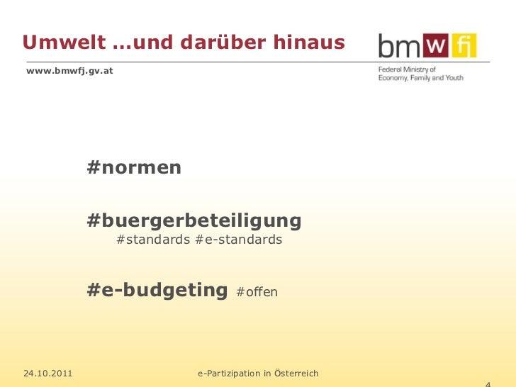 Umwelt …und darüber hinauswww.bmwfj.gv.at             #normen             #buergerbeteiligung                  #standards ...
