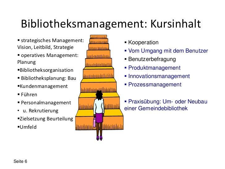 Bibliotheksmanagement: Kursinhalt  strategisches Management:    Kooperation Vision, Leitbild, Strategie                 ...