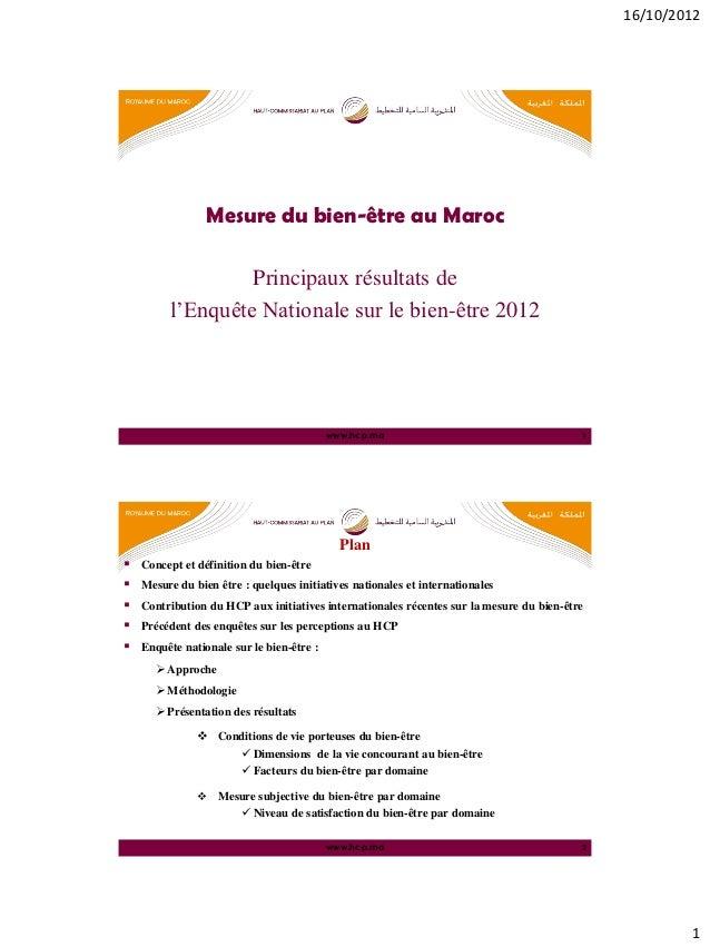 16/10/2012                 Mesure du bien-être au Maroc                  Principaux résultats de         l'Enquête Nationa...