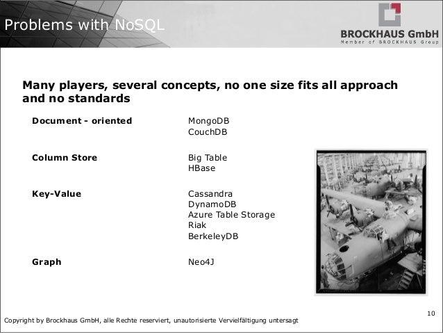 Copyright by Brockhaus GmbH, alle Rechte reserviert, unautorisierte Vervielfältigung untersagt 10 Problems with NoSQL Docu...