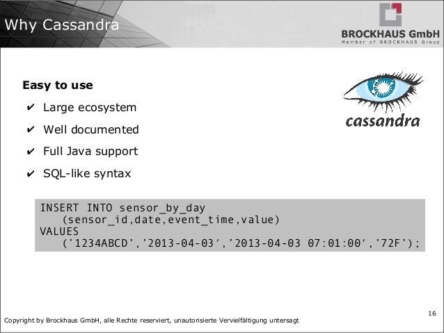 Copyright by Brockhaus GmbH, alle Rechte reserviert, unautorisierte Vervielfältigung untersagt 16 Why Cassandra Easy to us...