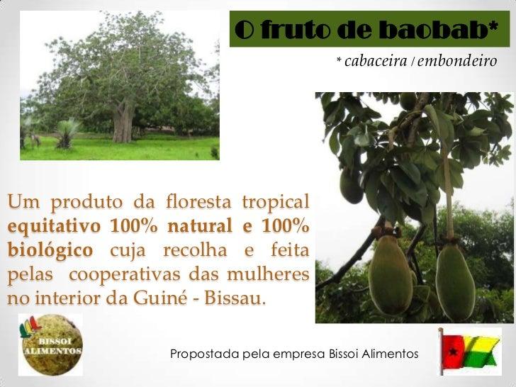 O fruto de baobab*<br />* cabaceira / embondeiro<br />Um produtosilvestreequitativo 100% natural e 100% biológicocujarecol...