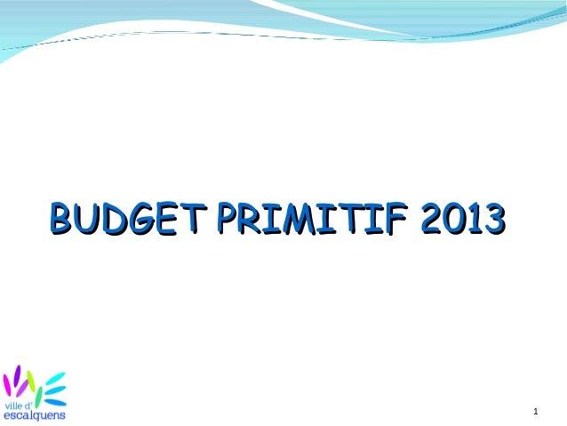 BUDGET PRIMITIF 2013                       1