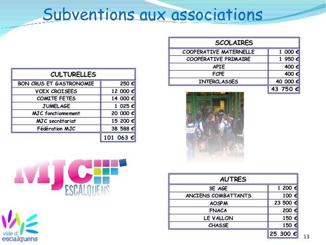 13 Subventions aux associations CULTURELLES BON CRUS ET GASTRONOMIE 250 € VOIX CROISEES COMITE FETES JUMELAGE MJC fonction...