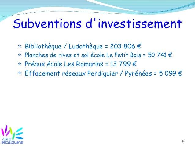 16 Subventions d'investissement Bibliothèque / Ludothèque = 203 806 € Planches de rives et sol école Le Petit Bois = 50 74...