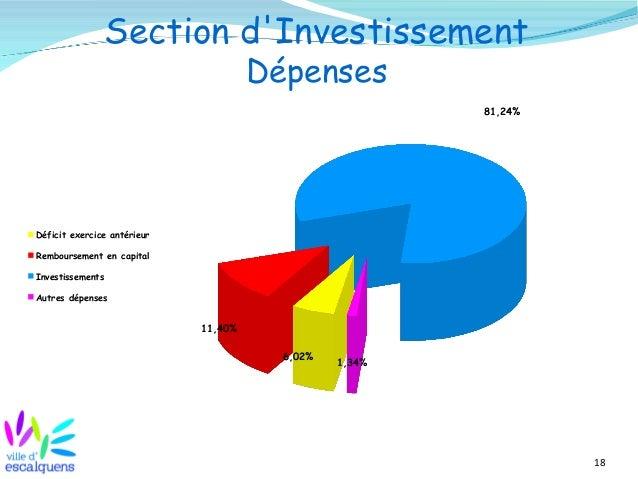 18 Section d'Investissement Dépenses 6,02% 11,40% 81,24% 1,34% Déficit exercice antérieur Remboursement en capital Investi...