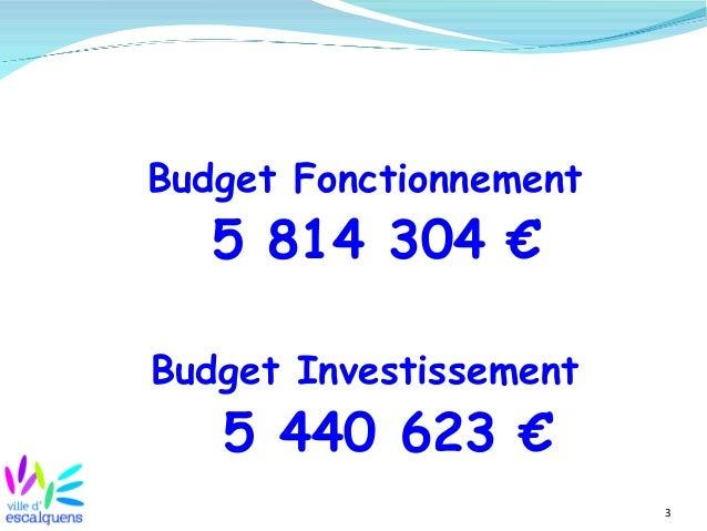 3 Budget Fonctionnement 5 814 304 € Budget Investissement 5 440 623 €
