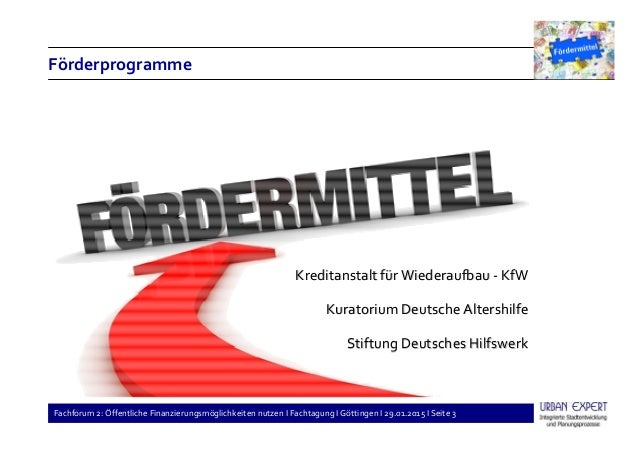 Fachforum 2: Öffentliche Finanzierungsmöglichkeiten nutzen I Fachtagung I Göttingen I 29.01.2015 I Seite 3 Förderprogramme...