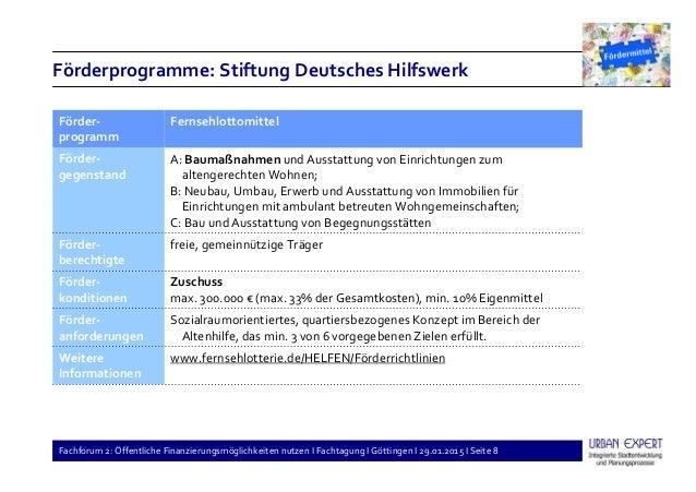Fachforum 2: Öffentliche Finanzierungsmöglichkeiten nutzen I Fachtagung I Göttingen I 29.01.2015 I Seite 8 Förderprogramme...