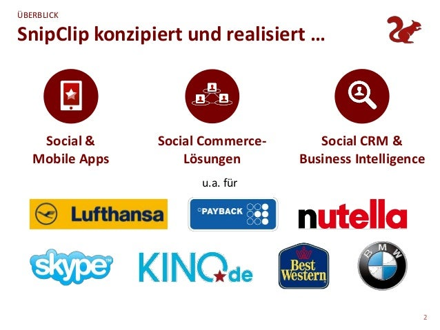 ÜBERBLICKSnipClip konzipiert und realisiert …    Social &     Social Commerce-      Social CRM &   Mobile Apps       Lösun...