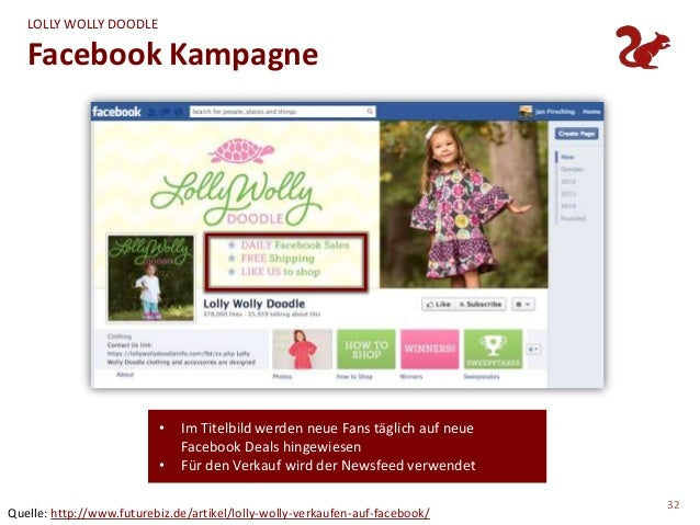 LOLLY WOLLY DOODLE   Facebook Kampagne                          •   Im Titelbild werden neue Fans täglich auf neue        ...