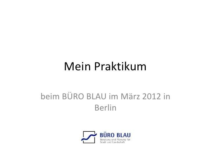 Mein Praktikumbeim BÜRO BLAU im März 2012 in            Berlin