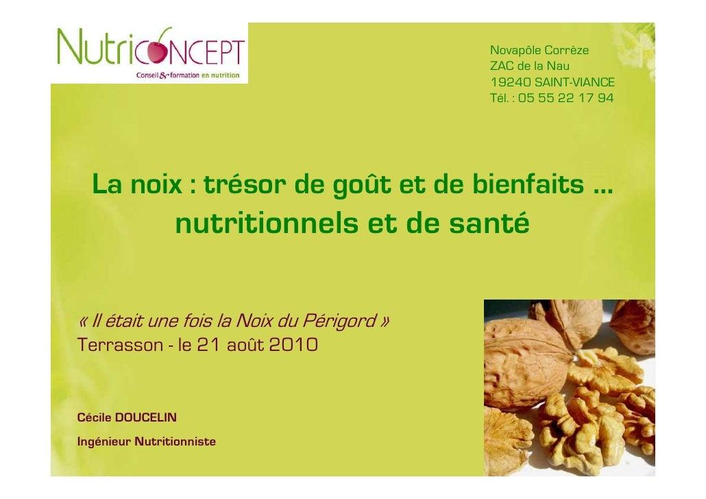 Présentation Cécile Doucelin_Nutriconcept : bienfaits nutritionnels et de santé