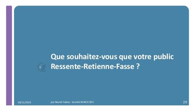 Que souhaitez-vous que votre public Ressente-Retienne-Fasse ? par Muriel Faibes - Société WINCO DEV 2928/11/2016