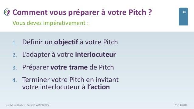 Comment vous préparer à votre Pitch ? 1. Définir un objectif à votre Pitch 2. L'adapter à votre interlocuteur 3. Préparer ...