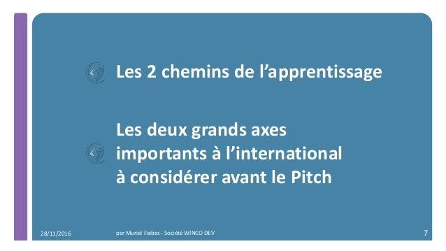 Les 2 chemins de l'apprentissage Les deux grands axes importants à l'international à considérer avant le Pitch par Muriel ...