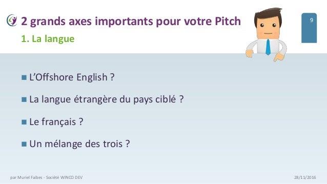 2 grands axes importants pour votre Pitch  L'Offshore English ?  La langue étrangère du pays ciblé ?  Le français ?  U...