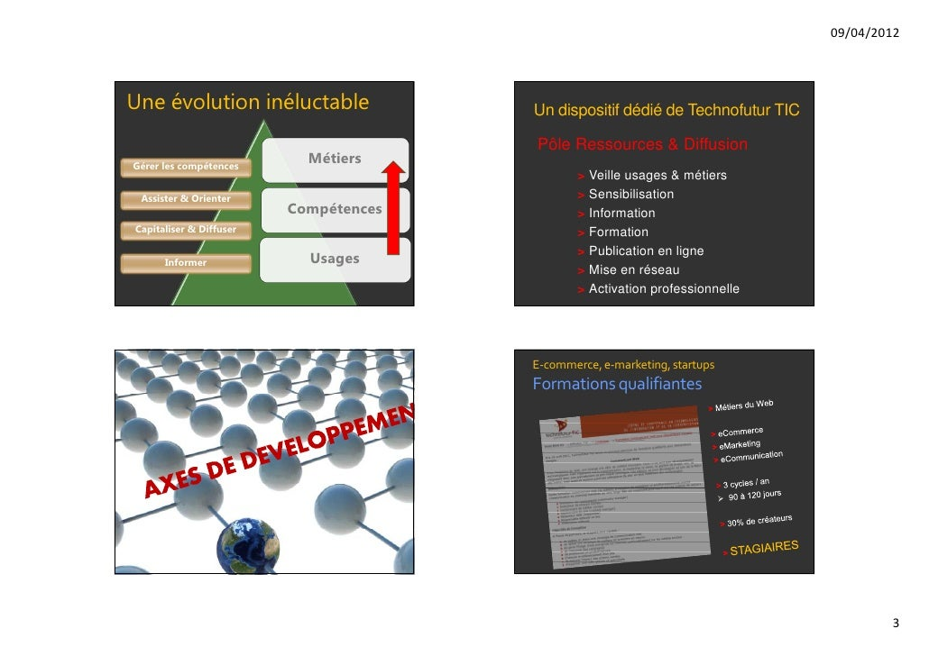 09/04/2012Une évolution inéluctable              Un dispositif dédié de Technofutur TIC                                   ...