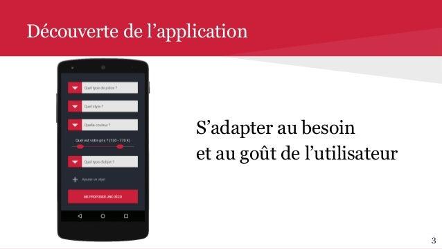 Découverte de l'application S'adapter au besoin et au goût de l'utilisateur 3
