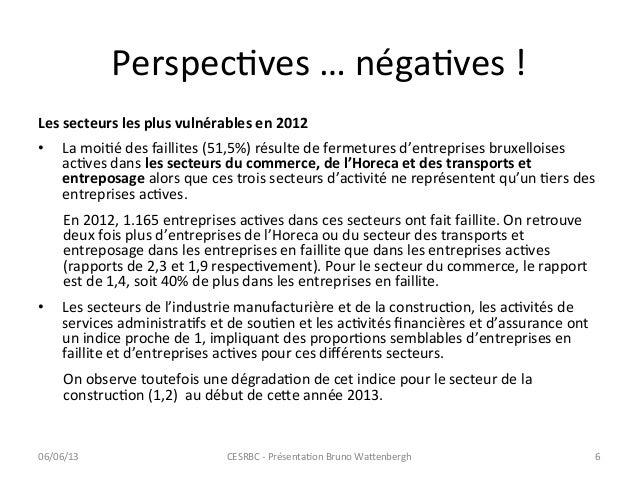 PerspecCves … négaCves !  Les secteurs les plus vulnérables en 2012 • La moiCé des faillite...