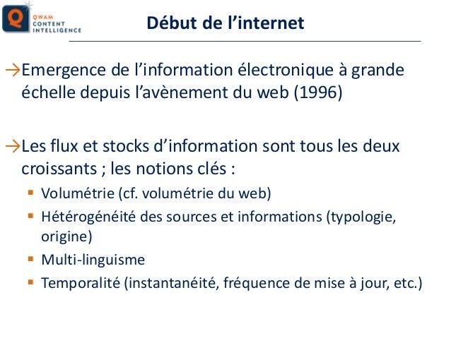 Début de l'internet →Emergence de l'information électronique à grande échelle depuis l'avènement du web (1996)  →Les flux ...