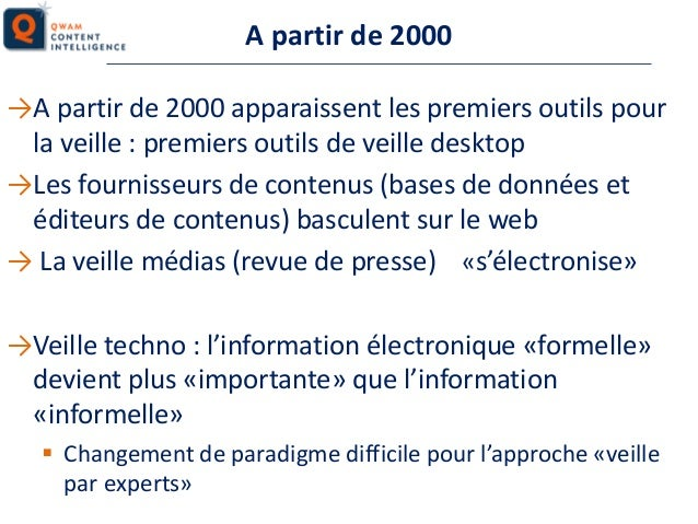A partir de 2000 →A partir de 2000 apparaissent les premiers outils pour la veille : premiers outils de veille desktop →Le...