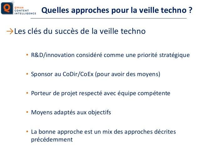 Quelles approches pour la veille techno ? →Les clés du succès de la veille techno • R&D/innovation considéré comme une pri...