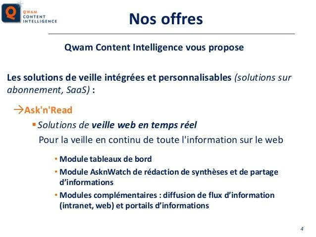 Nos offres Qwam Content Intelligence vous propose Les solutions de veille intégrées et personnalisables (solutions sur abo...