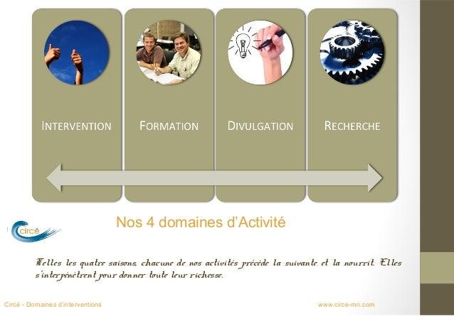 Nos 4 domaines d'Activité          Telles les quatre saisons, chacune de nos activités précède la suivante et la nourrit. ...