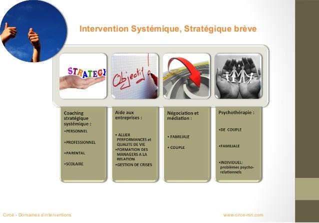 Intervention Systémique, Stratégique brèveCircé - Domaines d'interventions                                     www.circe-m...