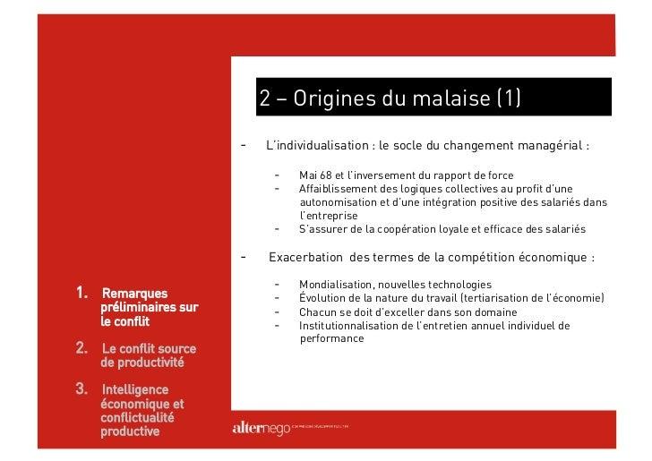 2 – Origines du malaise (2)                        -  Le collectif en souffrance face aux enjeux économiques             ...