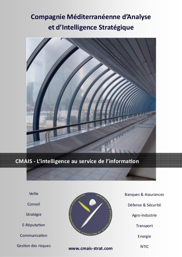 Veille Conseil Stratégie E-Réputa on Communica on Ges on des risques Banques & Assurances Défense & Sécurité Agro-industri...