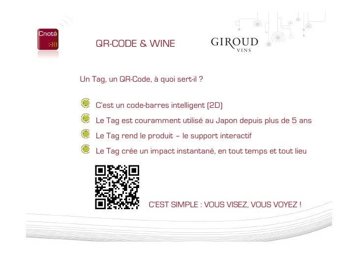 Présentation Cnoté - Solution Qr Code Giroud Vins 04 02 10 Slide 2