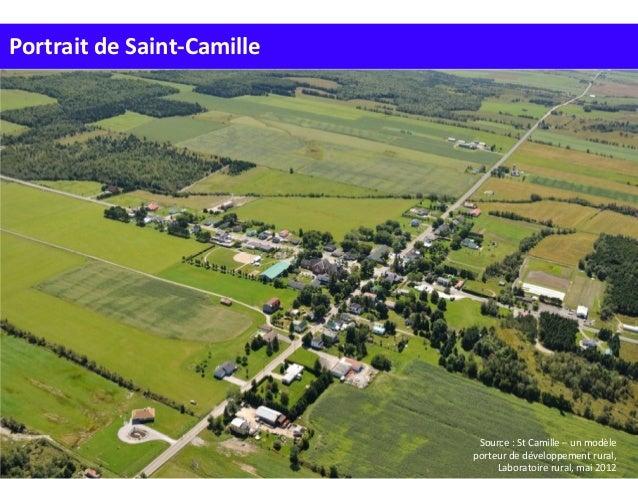 Portrait de Saint-Camille Situation Source : St Camille – un modèle porteur de développement rural, Laboratoire rural, mai...