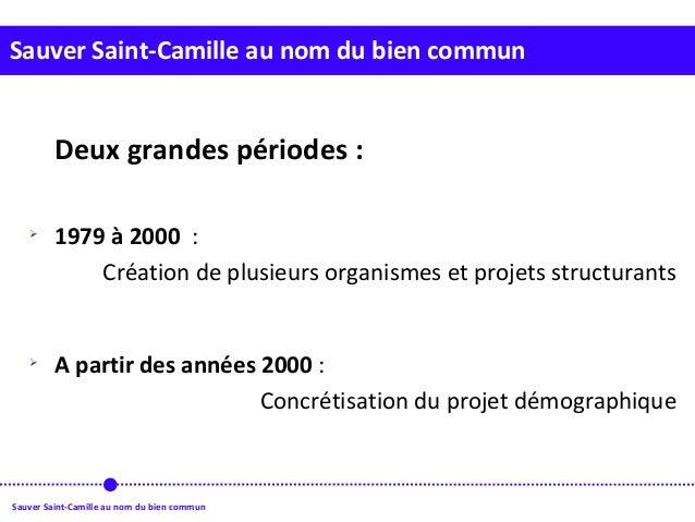 Sauver Saint-Camille au nom du bien commun Sauver Saint-Camille au nom du bien commun Deux grandes périodes :  1979 à 200...