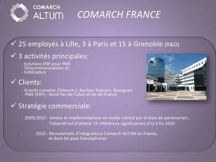 COMARCH FRANCE   25 employés à Lille, 3 à Paris et 15 à Grenoble (R&D)  3 activités principales:    - Solutions ERP pour...