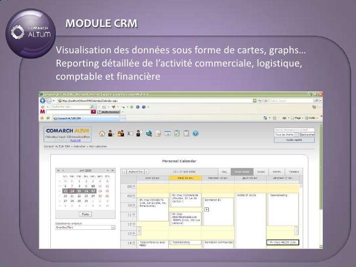 MODULE CRM  Visualisation des données sous forme de cartes, graphs… Reporting détaillée de l'activité commerciale, logisti...