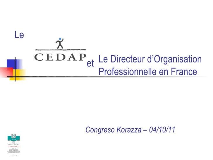Le Directeur d'Organisation  Professionnelle en France Congreso Korazza – 04/10/11 Le et