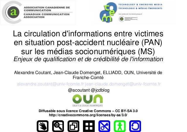 La circulation d'informations entre victimes en situation post-accident nucléaire (PAN) sur les médias socionumériques (MS...