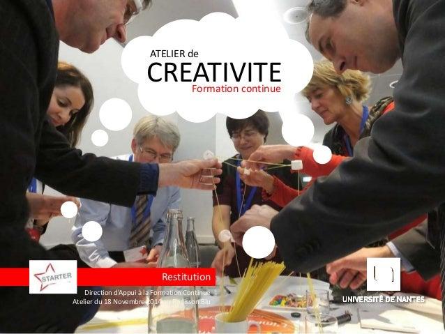 ATELIER de  CREATIVITE  Formation continue  Restitution  Direction d'Appui à la Formation Continue  Atelier du 18 Novembre...