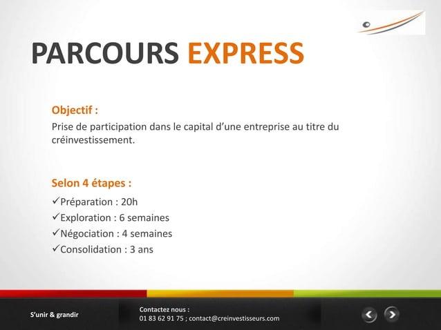 PARCOURS EXPRESS       Objectif :       Prise de participation dans le capital d'une entreprise au titre du       créinves...