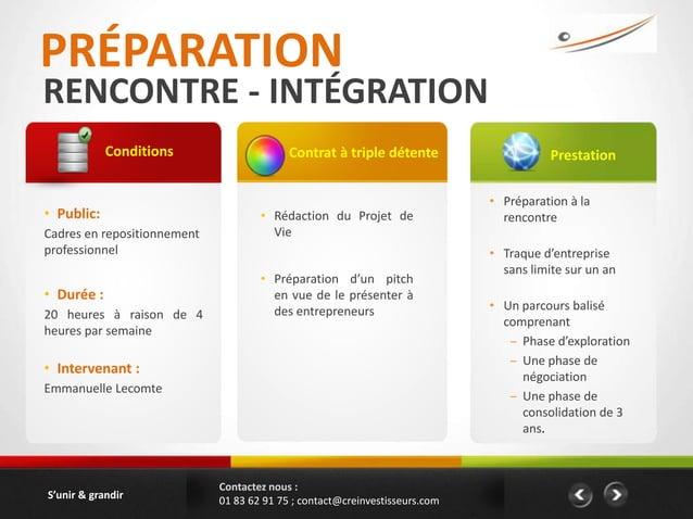 PRÉPARATIONRENCONTRE - INTÉGRATION            Conditions                     Contrat à triple détente                     ...