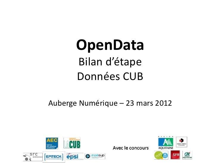 OpenData       Bilan d'étape       Données CUBAuberge Numérique – 23 mars 2012
