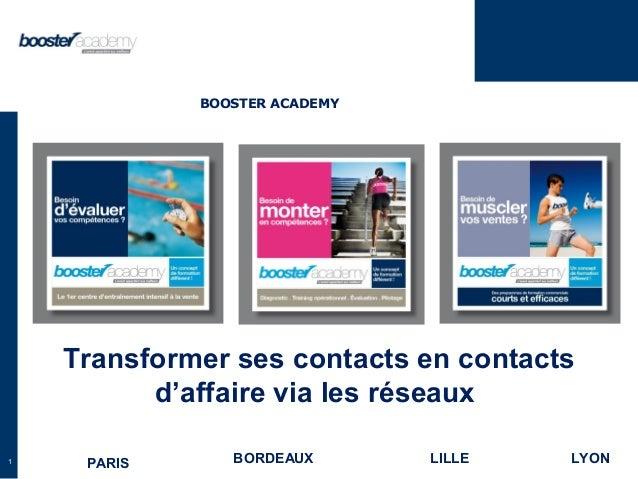 1 Transformer ses contacts en contacts d'affaire via les réseaux PARIS BORDEAUX LILLE LYON BOOSTER ACADEMY