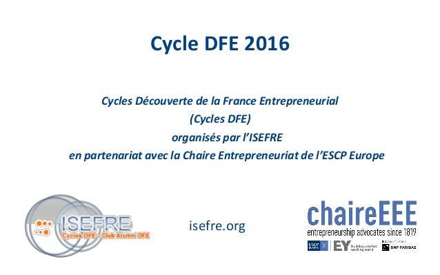 Cycles Découverte de la France Entrepreneurial (Cycles DFE) organisés par l'ISEFRE en partenariat avec la Chaire Entrepren...